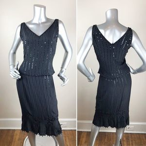 Vintage Black Silk Beaded Skirt Set Flapper